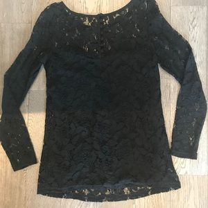 Black lace top from Anthropologie